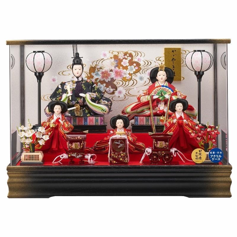 雛人形 5人ケース入り 月結三五芥子五人飾り栓欅金ぼかし(オルゴール付き) fn-24 ケース入 ケース飾