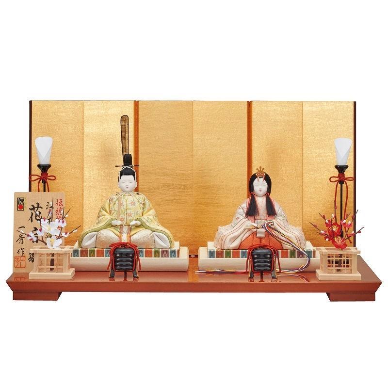 【超目玉枠】 江戸木目込み人形 i-33-h97 親王 雛人形 幅50cm 平飾り 一秀-季節玩具