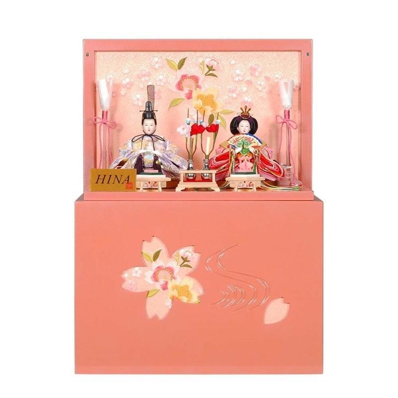 雛人形 親王収納飾り 彩華(さいか)セットパールピンク塗り刺しゅう菱型桜屏風 ピンクのお雛様 sb-12-141