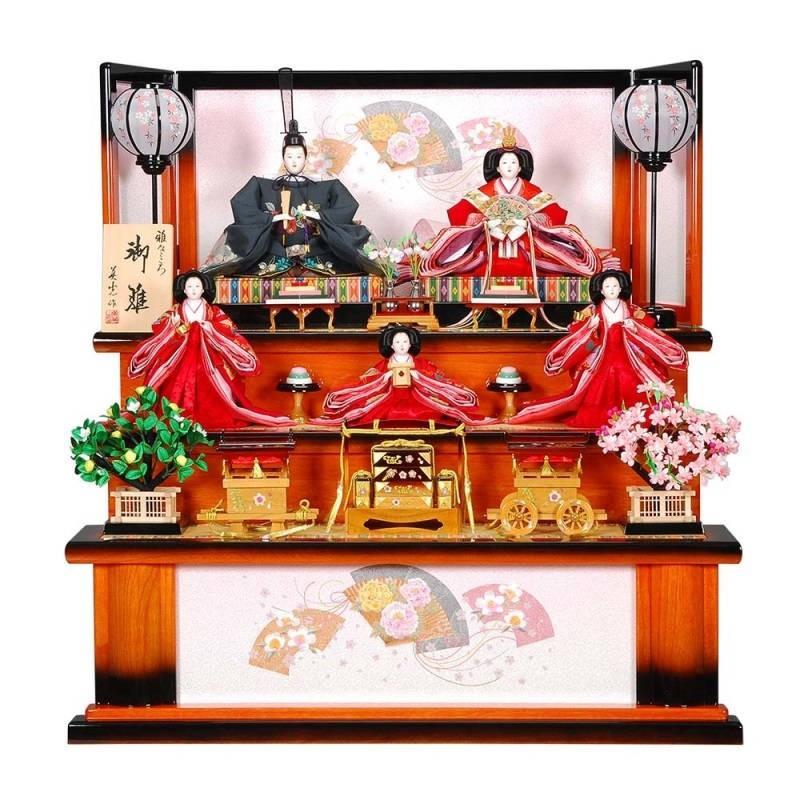 雛人形 5人三段飾り 嵯峨(さが)セット王朝/焦茶塗り刺しゅう檜扇屏風 sb-2-17