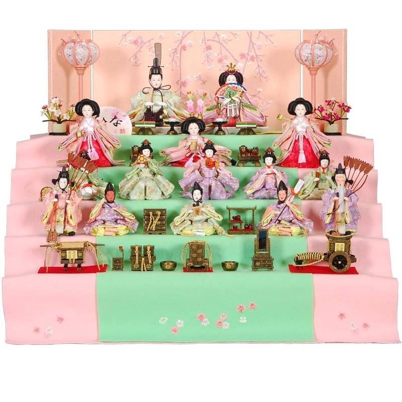 雛人形 15人五段飾り 春のかおりセット刺しゅう滝桜本装屏風 ピンクのお雛様 sb-3-41