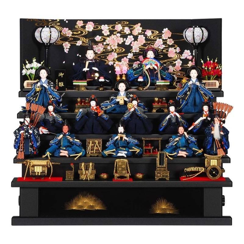 雛人形 15人五段飾り 藍染(あいぞめ)セット黒艶消塗り桜観世水屏風 sb-3-42