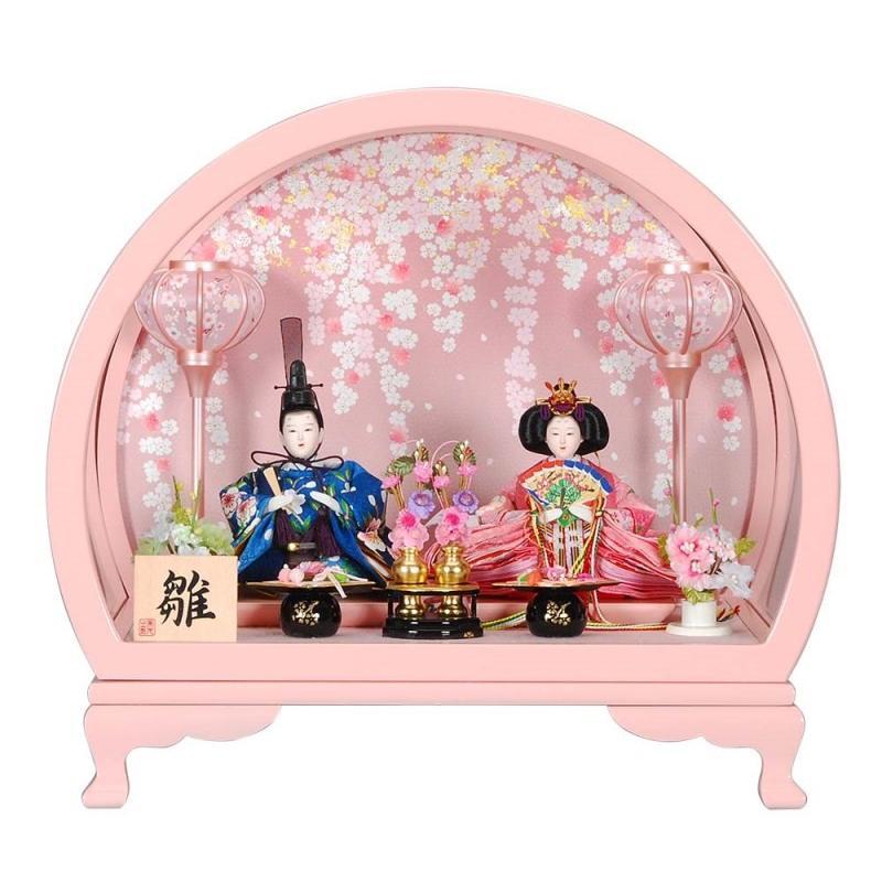 雛人形 親王ケース入り さくらぼんぼりピンク円型 ピンクのお雛様 sb-9-109 親王ケース飾 親王ケース入
