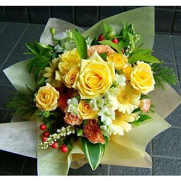 花束おまかせ 新作 人気 人気激安 黄色オレンジブーケ 送料無料 お祝い 開店祝い 結婚記念日 花束 敬老の日 誕生日プレゼント