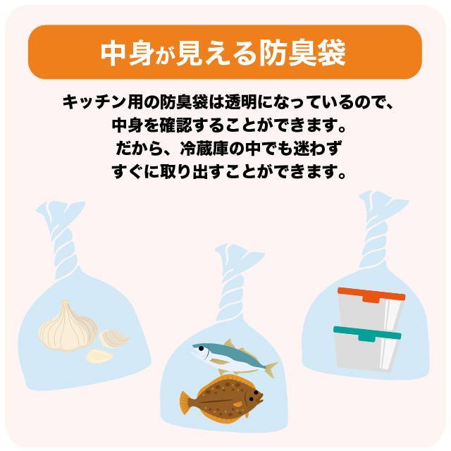 臭わない袋 中身が見える 防臭袋 においバイバイ袋 キッチン用 Mサイズ 60枚 生ごみ におわない 袋 消臭袋 nioi-byebye-shop 04