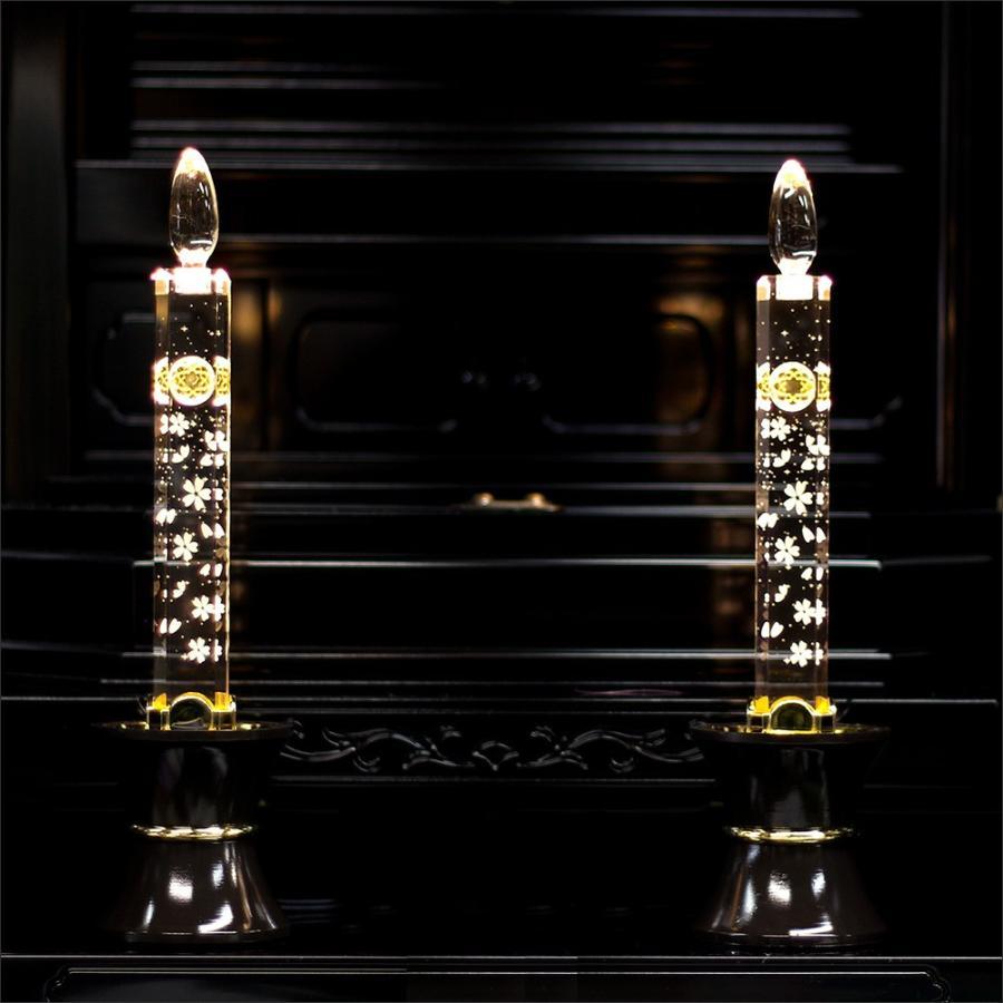創価学会仏壇 LEDダイヤローソク33号 ゴールド ブルー又はピンク2色切り替え式 ブラウン台 2灯用 nipodo