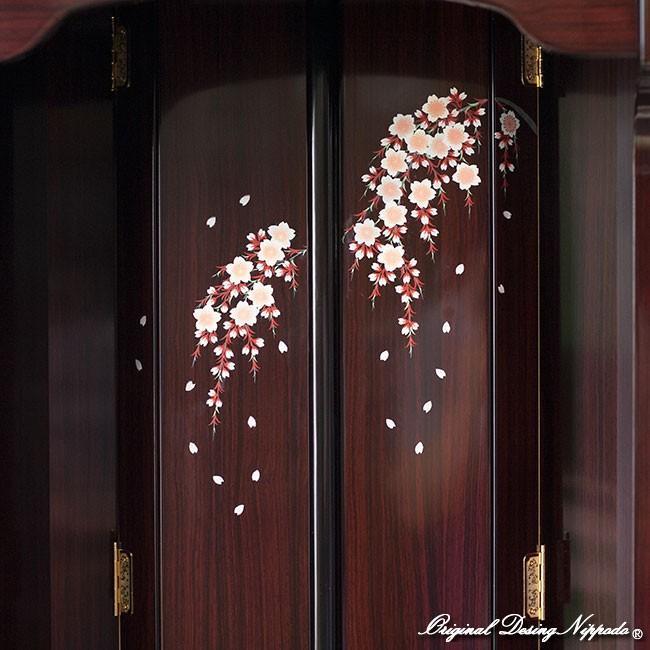 創価学会仏壇 宝塔 しだれ桜蒔絵 ローズ 仏具 付属品 LED照明付|nipodo|02