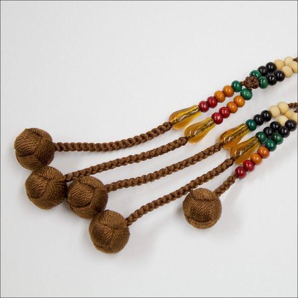 創価学会 木製 カラー念珠 色とりどりブラウン親玉 手毬梵天 nipodo 03
