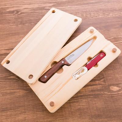 バーベキューやキャンプで大活躍!プロ御用達の鍛冶職人が自信を持ってお届けする「アウトドア向けナイフ」と「ヒノキまな板」のセット 送料無料 ポイント消化