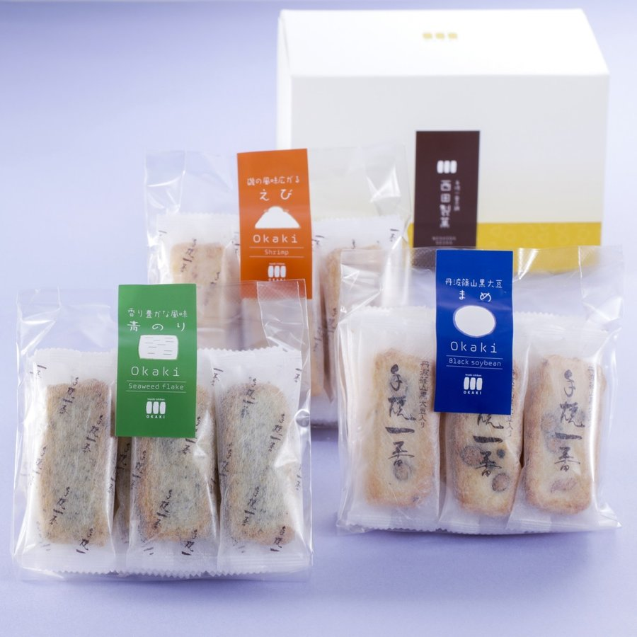 【豆・海老・青のりおかき】Cute box 3種詰め合わせ|nishidaseika-store