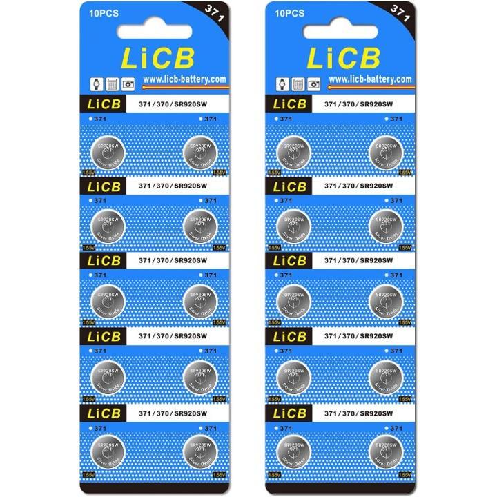 LiCB 20個 SR920SW 出群 ボタン電池 時計用 SR920sw AG6 送料無料 モデル着用&注目アイテム 370相当品 LR920 371