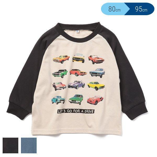 天竺くるまプリントラグラン長袖Tシャツ モデル着用 注目アイテム 80cm お金を節約 95cm 90cm