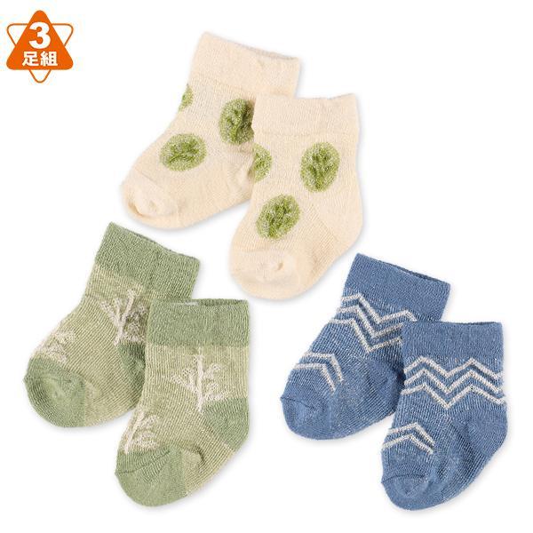 メーカー公式ショップ 3足組新生児クルーソックス 最新 植物柄 新生児7-9cm