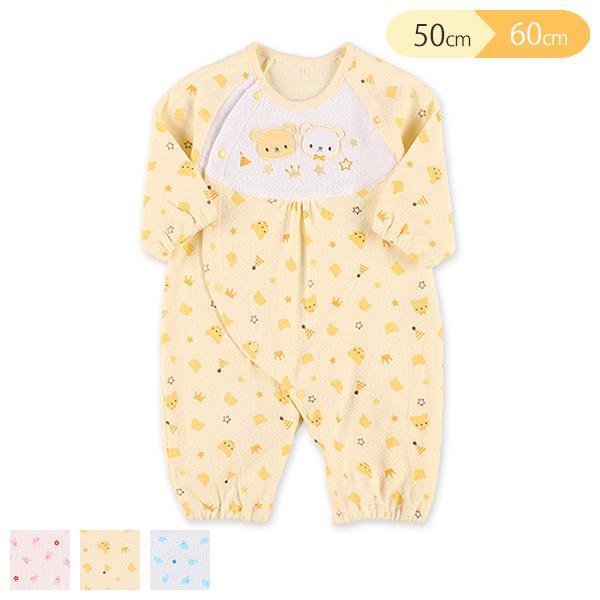 ヨーク刺繍総柄長袖コンビドレス メーカー公式 新生児50-60cm チープ