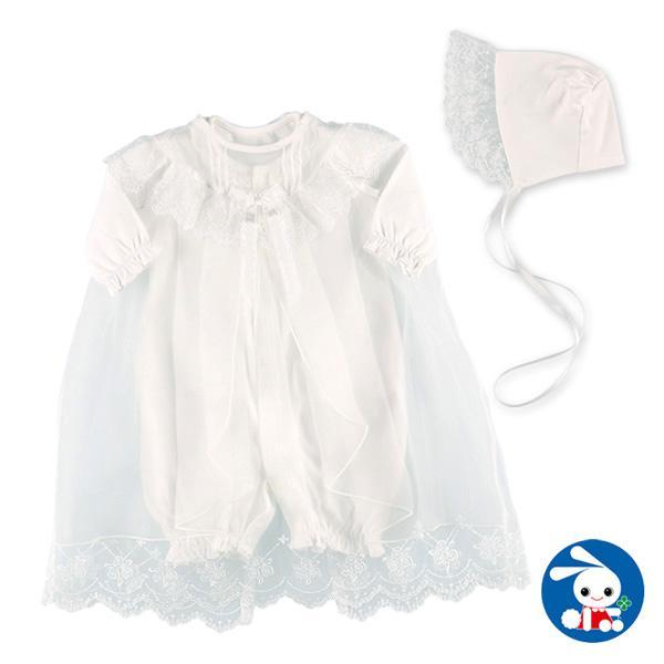フード 輸入 ショッピング ロングオーガンジー付きセレモニードレス 新生児50-60cm