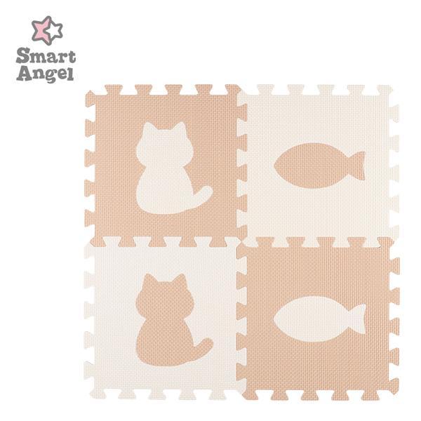 SmartAngel 抗菌くみあわせマット8枚入り セットアップ カフェラテ ミルク:CAT PEACE 新作入荷!!