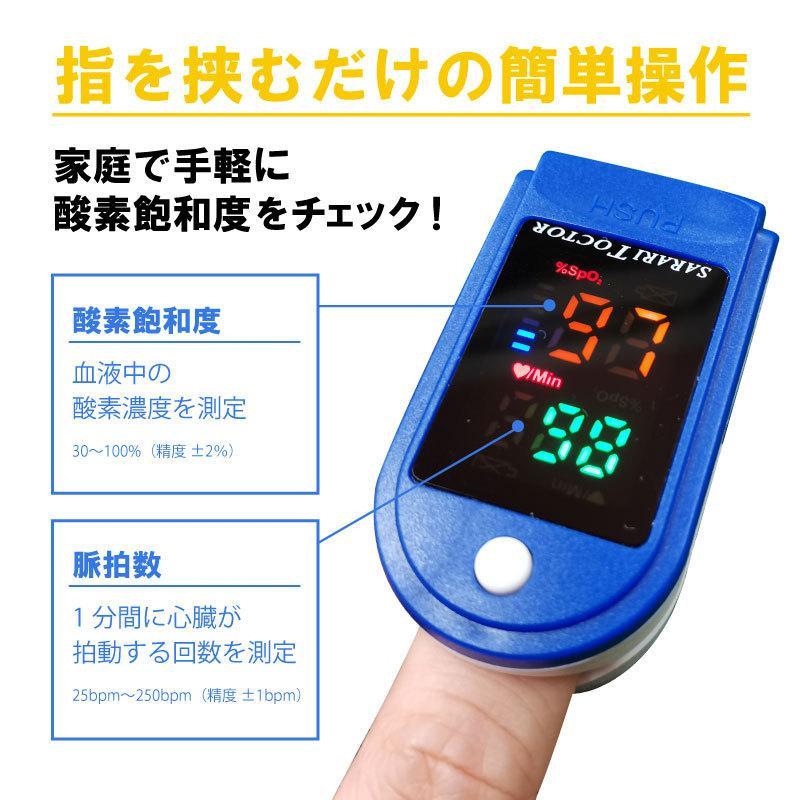 コンパクトウェルネス機器 血中酸素濃度計 酸素飽和度測定 脈拍数 指をはさむだけ 手軽 健康管理 スポーツ トレッキング 家庭用 nishisato 02