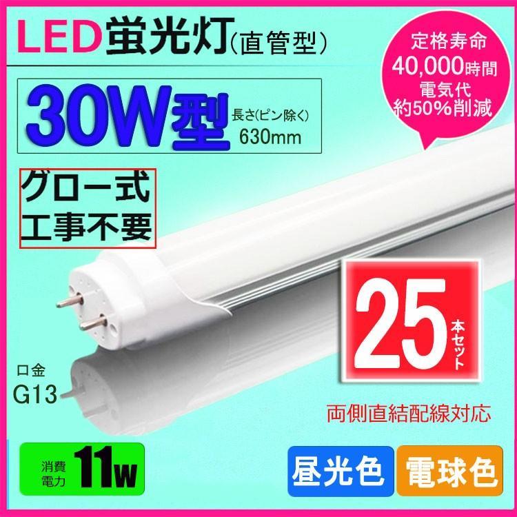 LED蛍光灯 30w形 昼光色 電球色 led直管蛍光灯T8 63cm G13口金 30W形相当 FL30 直管LEDランプ 色選択 25本セット送料無料