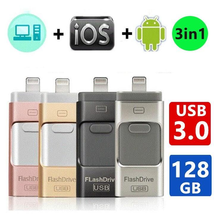 USB3.0メモリ 128GB 正規品 USBメモリ iPhone Android PC対応 iPad micro 超激得SALE Lightning パソコン用USBメモリ最安値 フラッシュドライブ