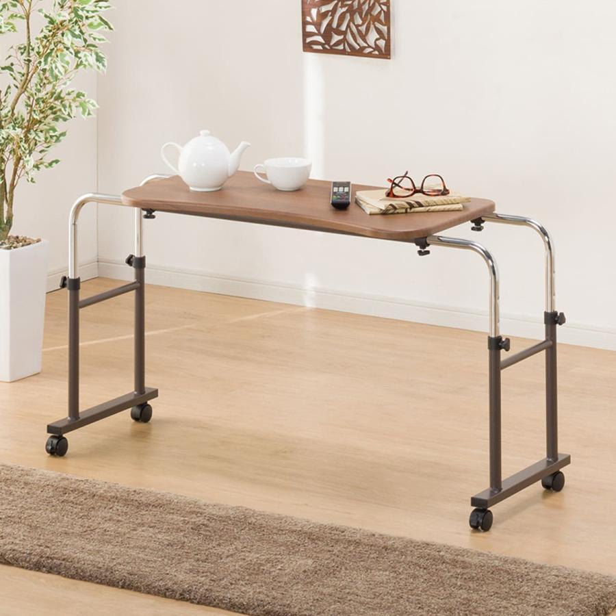 幅124cm シングルベッド用テーブル HY8040 MBR 1年保証 玄関先迄納品 交換無料 ニトリ 格安激安
