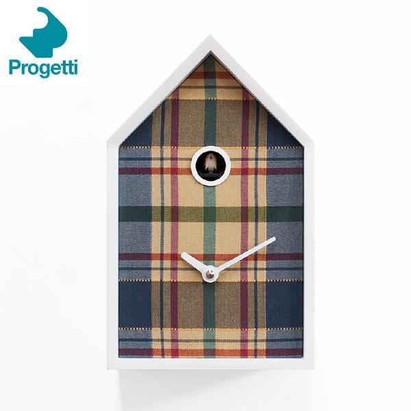 Progetti(プロジェッティ) Cuckoo collection Tartan タータン 鳩時計 ブルー カッコークロック 置時計 掛時計 692-946
