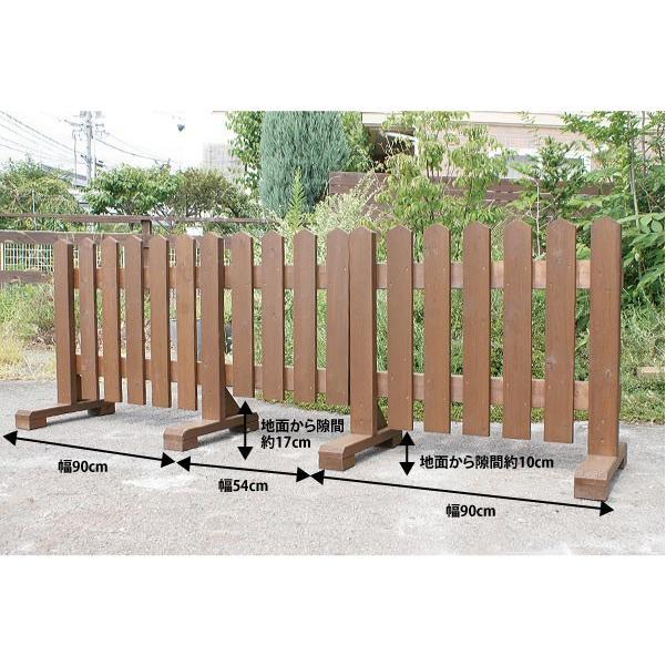 扉付き木製ピケットフェンス90 全長234cm|niwazakka|02