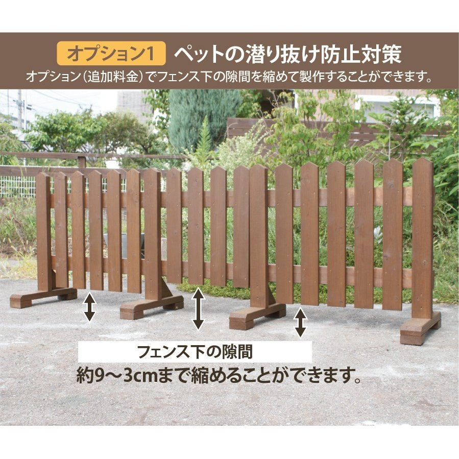 扉付き木製ピケットフェンス90 全長234cm|niwazakka|07