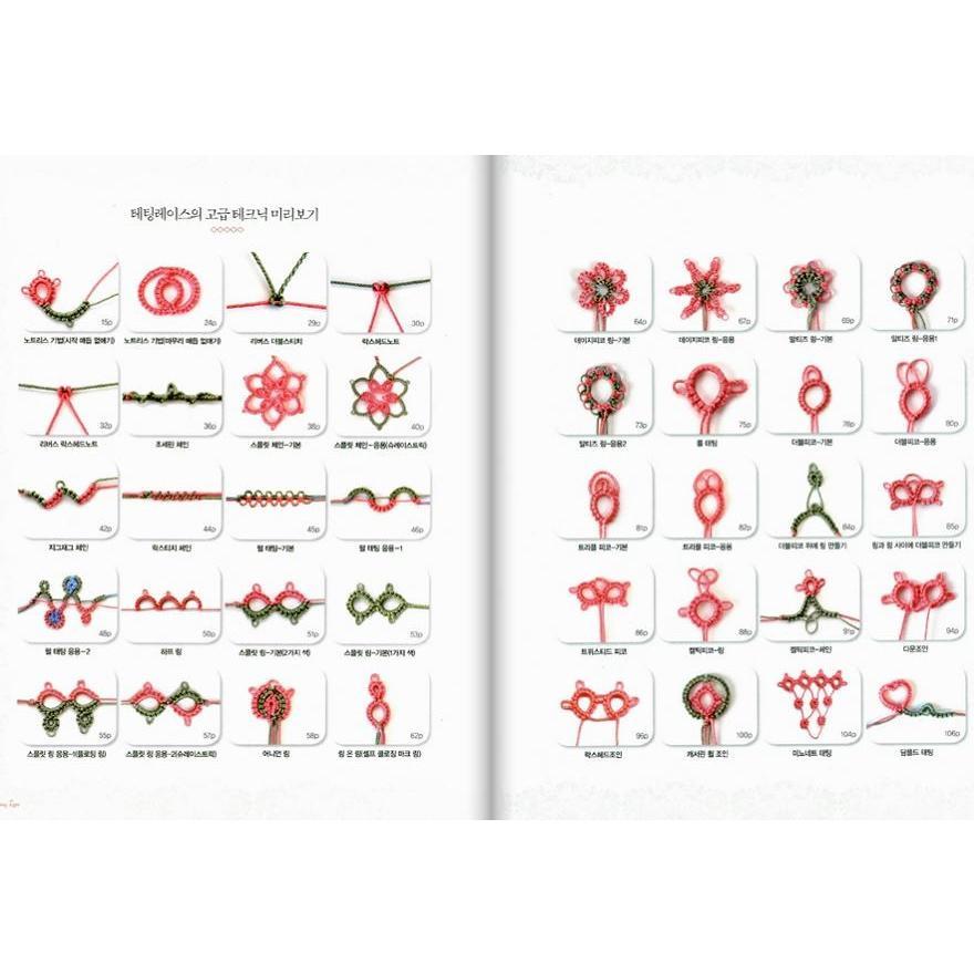 韓国語の編み物の本 『一目惚れの タティングレース 2 : 高級編 Lovely Tatting Lace #2』 著:チョン・ユジョン niyantarose 02