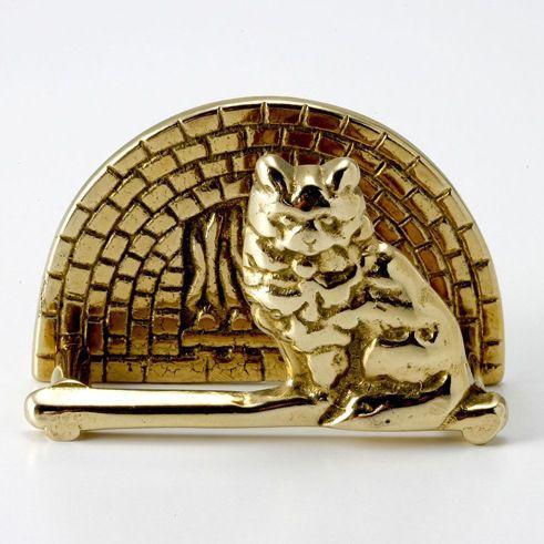 輸入雑貨 名刺立て ビジネスカード 猫 ブラス 真鍮仕上げ|noainterior
