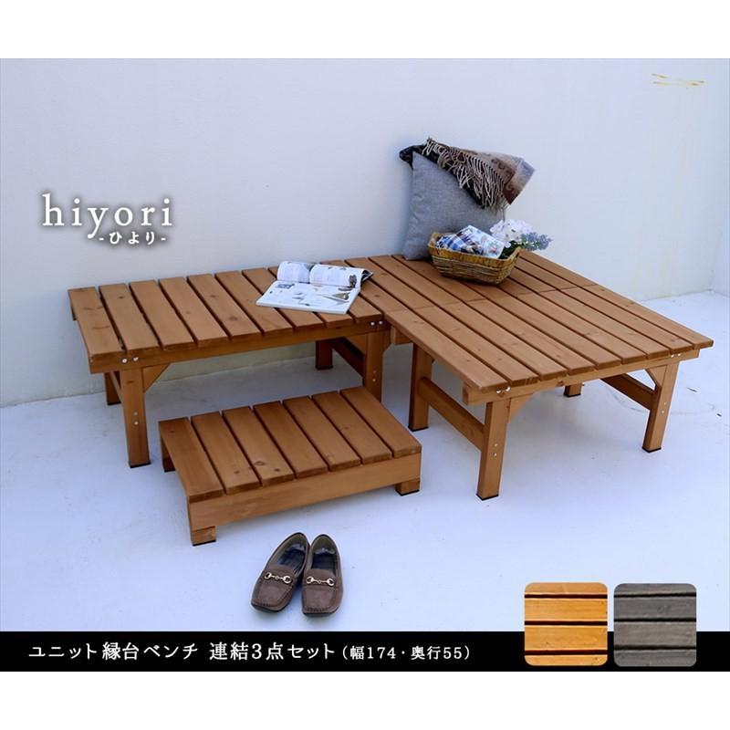 3点セット ガーデンベンチ 2台 174×55 87×55 ステップ踏み台 / 縁側 木製 天然木 おしゃれ DIY 木製ベンチ 屋外 muq|noconocok2000|02