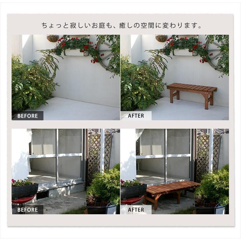 3点セット ガーデンベンチ 2台 174×55 87×55 ステップ踏み台 / 縁側 木製 天然木 おしゃれ DIY 木製ベンチ 屋外 muq|noconocok2000|04
