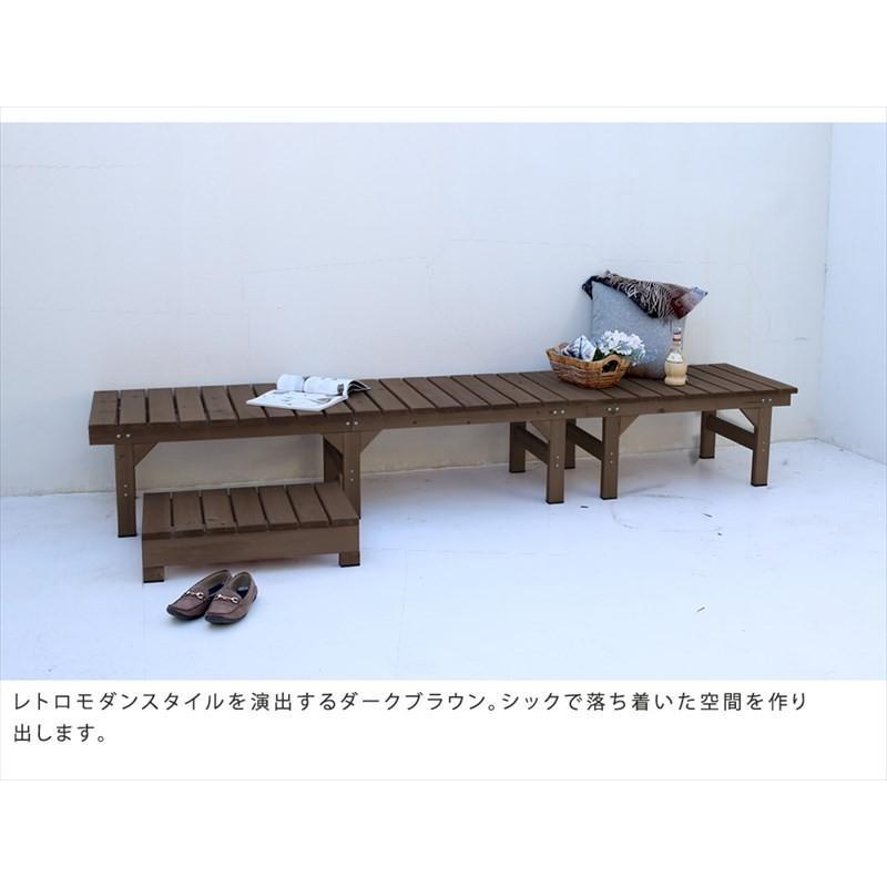 3点セット ガーデンベンチ 2台 174×55 87×55 ステップ踏み台 / 縁側 木製 天然木 おしゃれ DIY 木製ベンチ 屋外 muq|noconocok2000|05