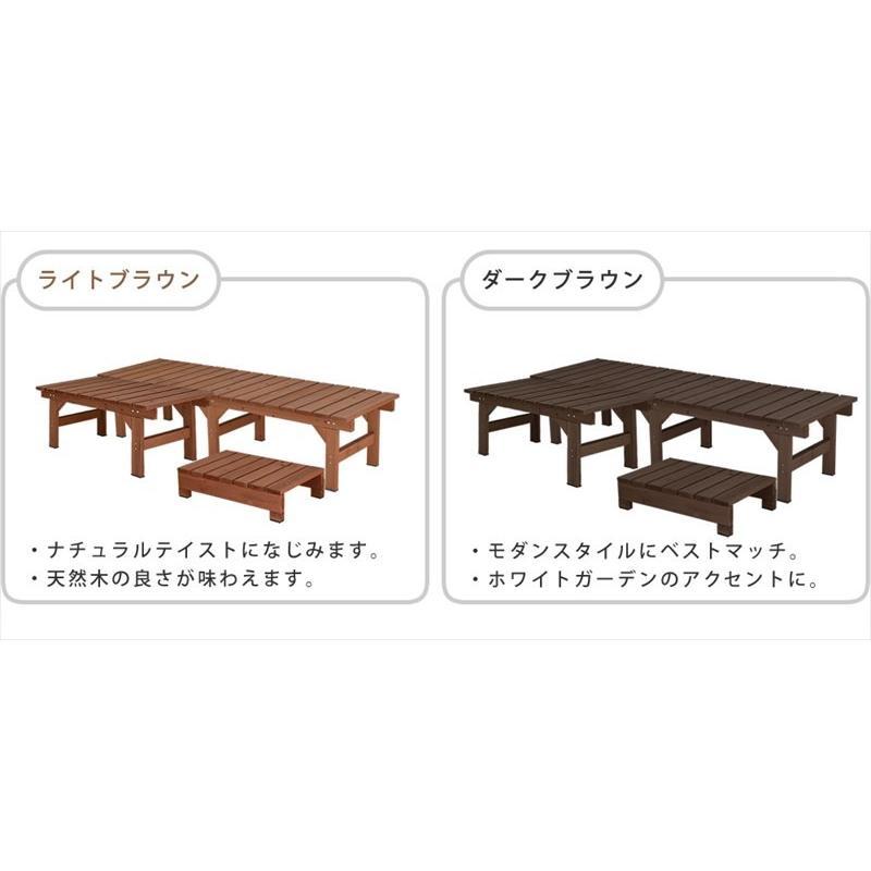 3点セット ガーデンベンチ 2台 174×55 87×55 ステップ踏み台 / 縁側 木製 天然木 おしゃれ DIY 木製ベンチ 屋外 muq|noconocok2000|09