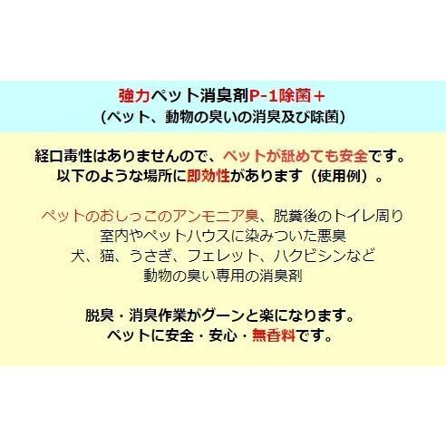 ペット消臭剤 猫 犬のオシッコ臭 アンモニア臭の除去 業務用 強力ペット消臭剤 P-1 ボトル 1リットル 無香料|noguchi-shouji|03