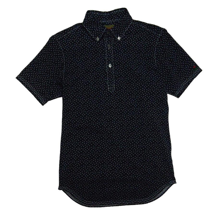 送料無料 ゴルフ ブラッドシフト BLOOD SHIFT BLS-214カラー ブラック&花柄 サイズ 46(M) ゴルフポロシャツ ポロ 送料無料
