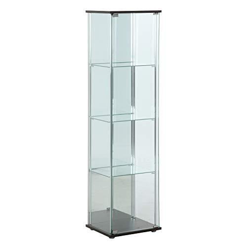 不二貿易(Fujiboeki) ガラスコレクションケース ブラウン 高さ160cm 4段 背面ミラー付き 2梱包 96046