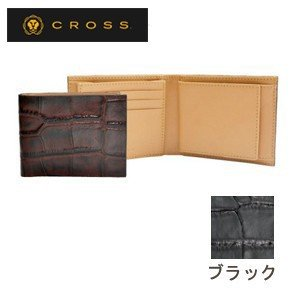 メンズ 2つ折 財布 革 名入れ クロス ココ・バイ・カラー ウエストウォレット ブラック AC058166-1|nomado1230