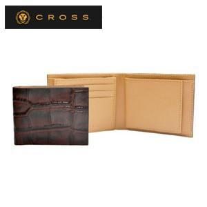 メンズ 2つ折 財布 革 名入れ クロス ココ・バイ・カラー ウエストウォレット ブラウン×キャメル AC058166-2|nomado1230