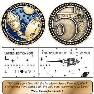 高級 ボールペン フィッシャー 限定版 アポロ7号50周年記念 ゴールドチタニウム アストロノートスペースペン&コインセット AG7-LE nomado1230 03