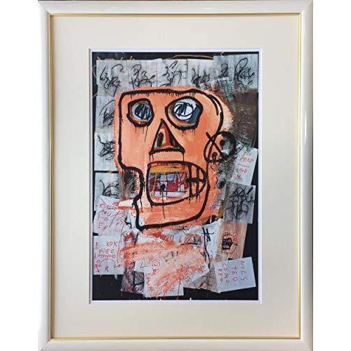バスキア「書類に囲まれた赤い鼻の男」ジクレー版画70.8cm×55.5cm額縁つき版画