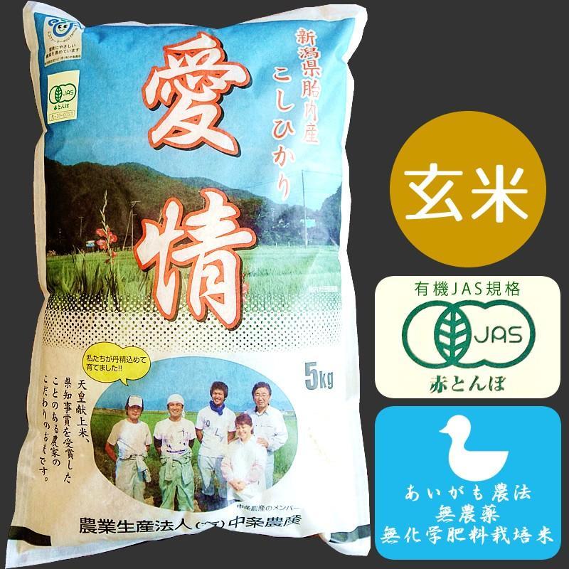 JAS有機あいがも栽培米(玄米)5kg【新潟県胎内産】|nousan