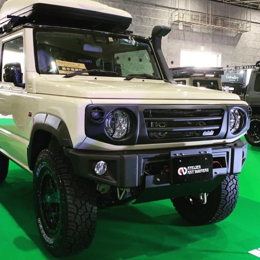 新型ジムニー フロントフロントグリル JB64W JB74W フロントスポーツグリル タイプ2 黒シボ塗装仕上 ラプターライナー塗装 スズキ|nouveau-store|03