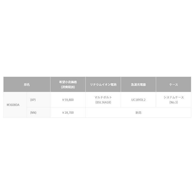 HiKOKI M3608DA(XP) コードレストリマ 36V-2.5Ah(電池・充電器・ケース付)|nst|02