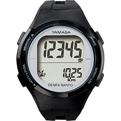 山佐時計計器 YAMASA 電波時計内蔵腕時計型 ウォッチ万歩計 DEMPA MANPO ブラック×シルバー TM-500 555021|nts