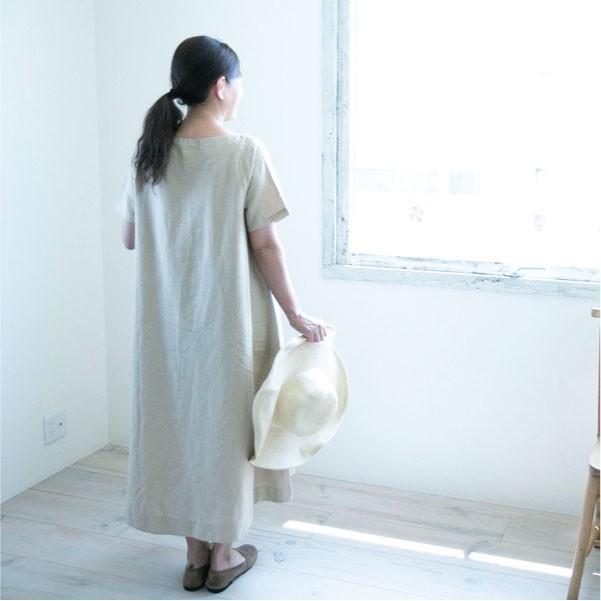 ワンピース  ロングワンピース ナチュラル シンプル 綿 コットン 麻  春 春ワンピース|ntsen|09