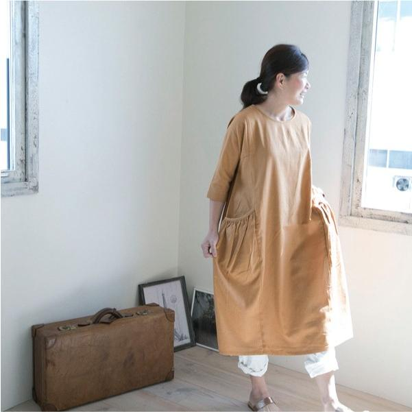 7分袖ワンピース  ワンピ ナチュラル服 リネン ベーシック 無地 ゆったり|ntsen|05
