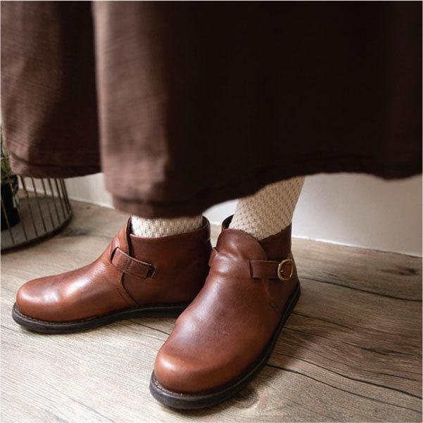 ブーツ  ショートブーツ オブリーク レザーシューズ ローヒール 本革 牛革 ntsen 04