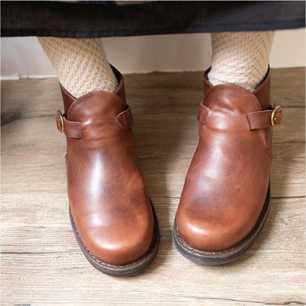 ブーツ  ショートブーツ オブリーク レザーシューズ ローヒール 本革 牛革 ntsen 05