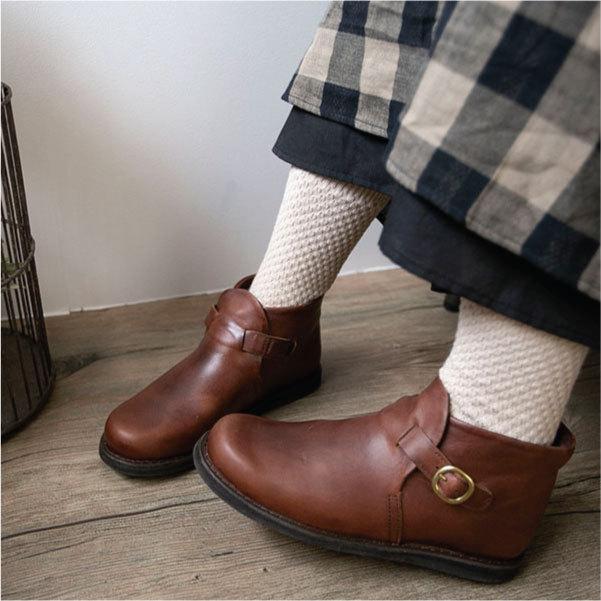 ブーツ  ショートブーツ オブリーク レザーシューズ ローヒール 本革 牛革 ntsen 07
