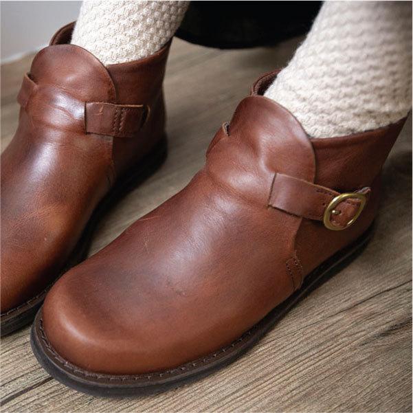 ブーツ  ショートブーツ オブリーク レザーシューズ ローヒール 本革 牛革 ntsen 08